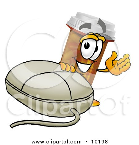 Clipart Picture of a Pill Bottle Mascot Cartoon Character With a Computer Mouse by Toons4Biz