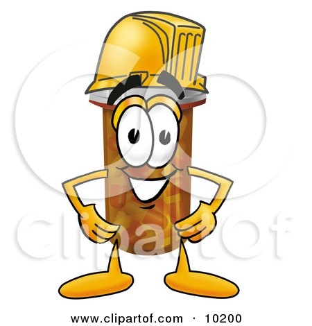 Clipart Picture of a Pill Bottle Mascot Cartoon Character Wearing a Helmet by Toons4Biz