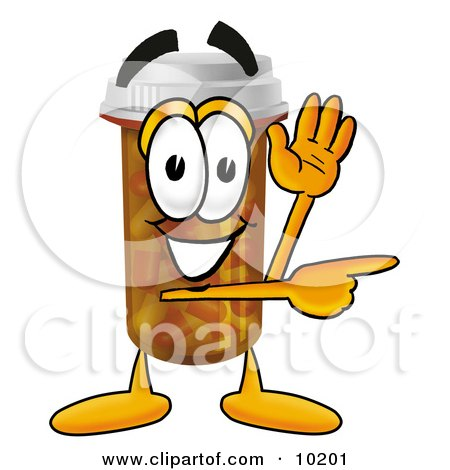 Clipart Picture of a Pill Bottle Mascot Cartoon Character Waving and Pointing by Toons4Biz