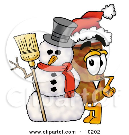 Clipart Picture of a Pill Bottle Mascot Cartoon Character With a Snowman on Christmas by Toons4Biz