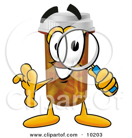 Clipart Picture of a Pill Bottle Mascot Cartoon Character Looking Through a Magnifying Glass by Toons4Biz