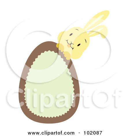 Royalty-Free (RF) Clipart Illustration of a Yellow Rabbit Behind A Brown And Green Easter Egg by Cherie Reve