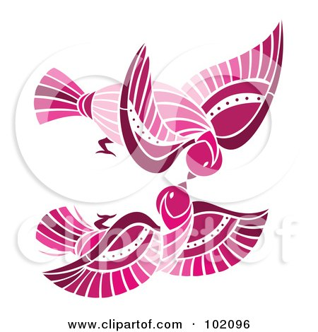 Royalty-Free (RF) Clipart Illustration of a Pair Of Pink Birds Flying And Kissing by Cherie Reve