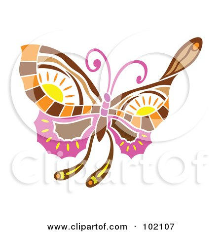 Royalty-Free (RF) Clipart Illustration of a Spring Time Butterfly With Sun Designs by Cherie Reve