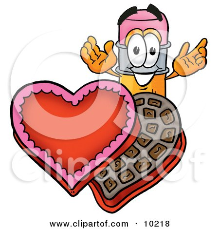 Clipart Picture Of A Pencil Mascot Cartoon Character With An Open Box Of Valentines Day Chocolate Candies