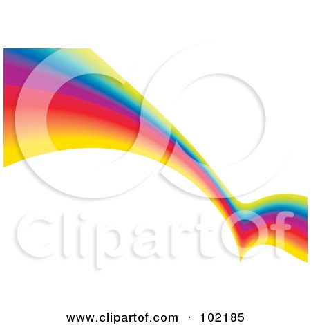 Royalty-Free (RF) Clipart Illustration of a Rainbow Swoosh Wave Background - 1 by MilsiArt