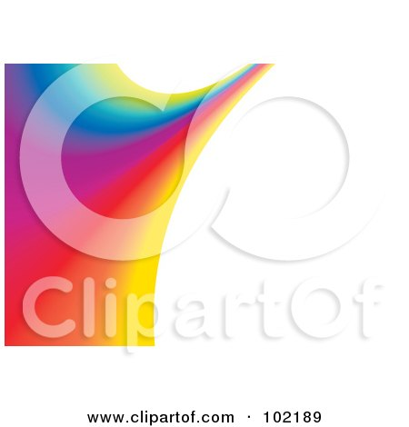 Royalty-Free (RF) Clipart Illustration of a Rainbow Swoosh Wave Background - 5 by MilsiArt