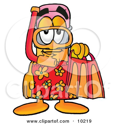 Pencil Mascot Cartoon Character in Orange and Red Snorkel Gear Posters, Art Prints