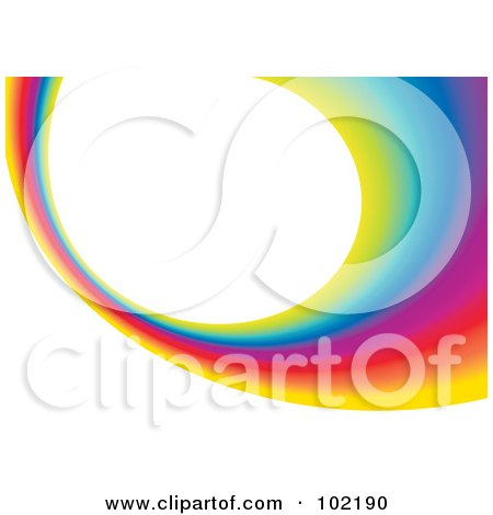 Royalty-Free (RF) Clipart Illustration of a Rainbow Swoosh Wave Background - 6 by MilsiArt