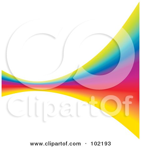 Royalty-Free (RF) Clipart Illustration of a Rainbow Swoosh Wave Background - 9 by MilsiArt