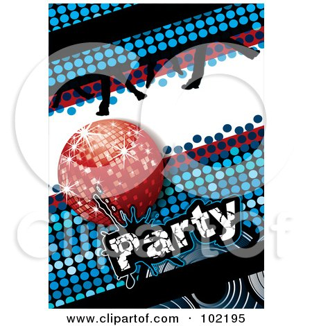 Royalty-Free (RF) Clipart Illustration of a Blue Disco Party Background With A Red Ball And Dancing Feet by MilsiArt