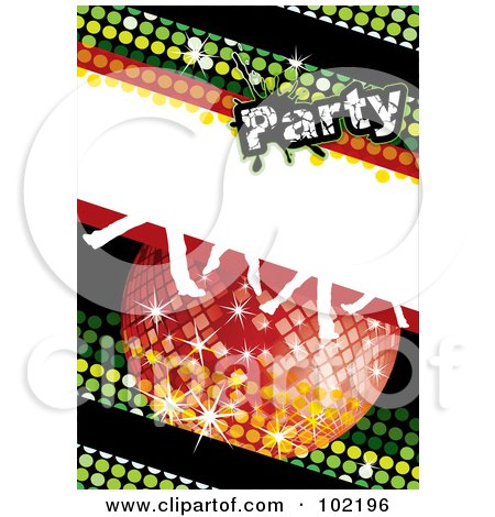 Royalty-Free (RF) Clipart Illustration of a Green Disco Party Background With A Red Ball And Dancing Feet by MilsiArt