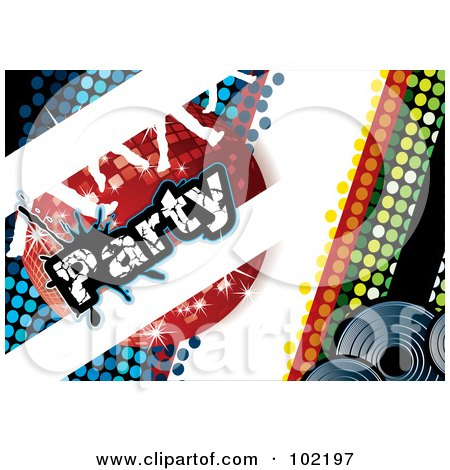 Royalty-Free (RF) Clipart Illustration of a Blue And Green Disco Party Background With A Red Ball And Dancing Feet by MilsiArt