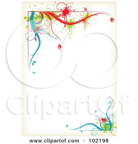 Royalty-Free (RF) Clipart Illustration of a Colorful Floral Vine Border Around White Copyspace by MilsiArt