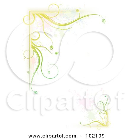 Royalty-Free (RF) Clipart Illustration of a Green Floral Vine And Splatter Border Around White Copyspace by MilsiArt