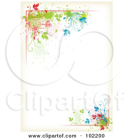 Royalty-Free (RF) Clipart Illustration of a Colorful Floral Vine Border Around Antique White Copyspace by MilsiArt