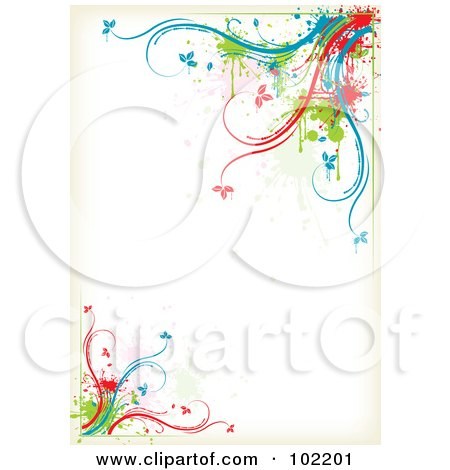 Royalty-Free (RF) Clipart Illustration of a Colorful Floral Vine Border Around White Space by MilsiArt