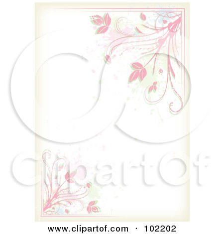 Royalty-Free (RF) Clipart Illustration of a Pink Floral Vine And Splatter Border Around White Copyspace by MilsiArt