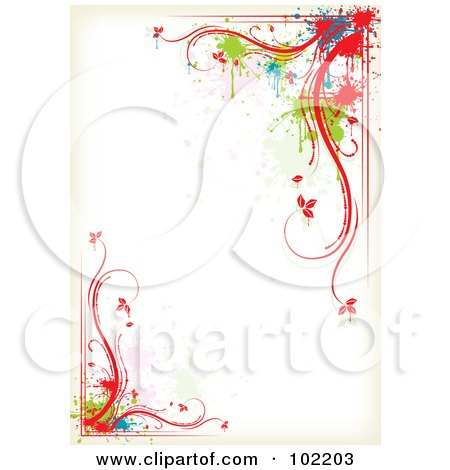Royalty-Free (RF) Clipart Illustration of a Colorful Floral Vine And Splatter Border Around White Copyspace by MilsiArt