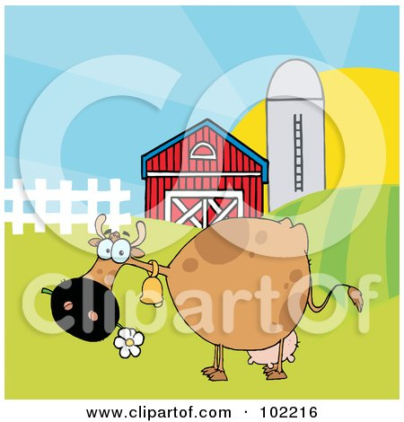 Royalty-Free (RF) Clipart Illustration of a Spotted Brown Cow Eating A Daisy Near A Barn And Silo by Hit Toon