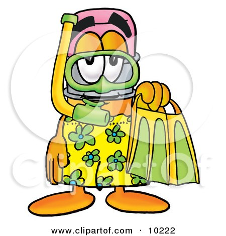 Pencil Mascot Cartoon Character in Green and Yellow Snorkel Gear Posters, Art Prints