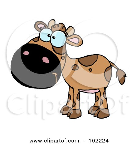 Royalty-Free (RF) Clipart Illustration of a Brown Baby Cow by Hit Toon
