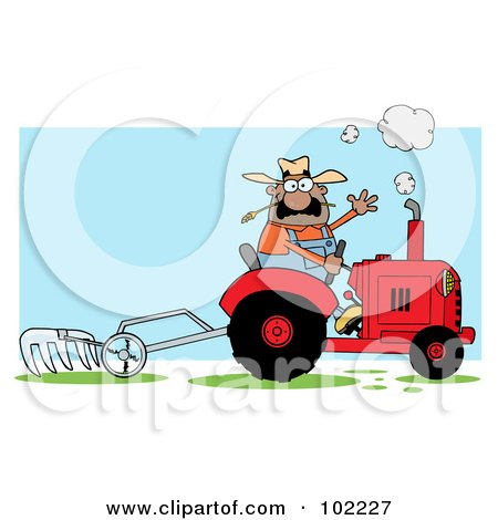 Royalty-Free (RF) Clipart Illustration of a Hispanic Male Farmer Waving And Operating A Tilling Tractor by Hit Toon