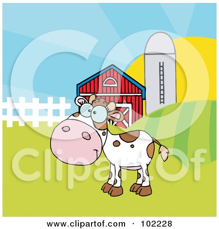 Royalty-Free (RF) Clipart Illustration of a Spotted White Calf In A Pasture By A Barn And Silo by Hit Toon
