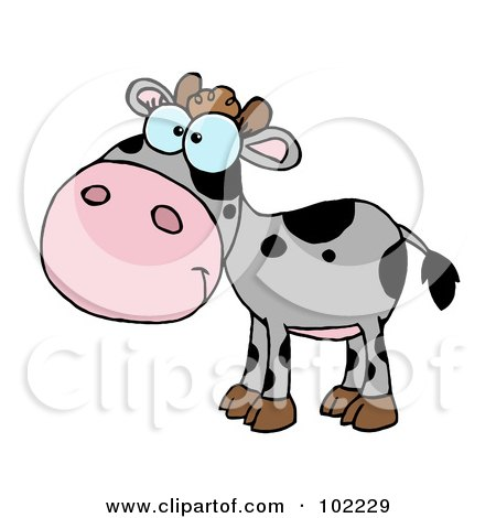 Royalty-Free (RF) Clipart Illustration of a Gray And Black Baby Cow by Hit Toon