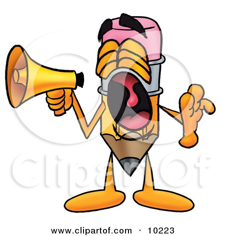 Clipart Picture of a Pencil Mascot Cartoon Character Screaming Into a Megaphone by Toons4Biz