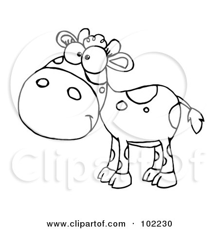 Royalty-Free (RF) Clipart Illustration of an Outlined Baby Cow by Hit Toon