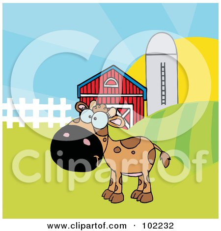 Royalty-Free (RF) Clipart Illustration of a Spotted Brown Calf In A Pasture By A Barn And Silo by Hit Toon