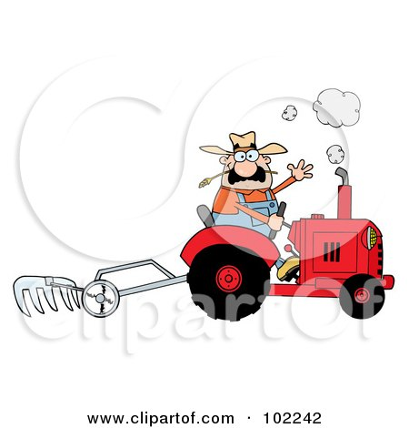 Royalty-Free (RF) Clipart Illustration of a Caucasian Farmer Waving And Tilling A Field With A Tractor by Hit Toon