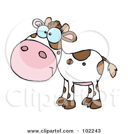 Royalty-Free (RF) Clipart Illustration of a White And Brown Baby Cow by Hit Toon