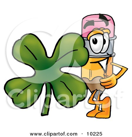 Clipart Picture of a Pencil Mascot Cartoon Character With a Green Four Leaf Clover on St Paddy's or St Patricks Day by Toons4Biz