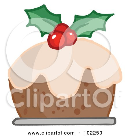 Royalty-Free (RF) Clipart Illustration of Holly Topped Christmas Pudding by Hit Toon