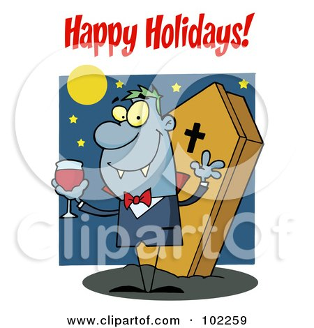 Royalty-Free (RF) Clipart Illustration of a Happy Holidays Greeting Over A Halloween Vampire by Hit Toon