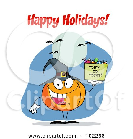Royalty-Free (RF) Clipart Illustration of a Happy Holidays Greeting Over A Halloween Pumpkin by Hit Toon