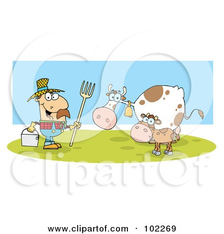 Royalty-Free (RF) Clipart Illustration of a Caucasian Farmer With His Cattle by Hit Toon