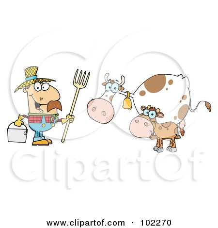 Royalty-Free (RF) Clipart Illustration of a Caucasian Farmer Tending To His Cattle by Hit Toon