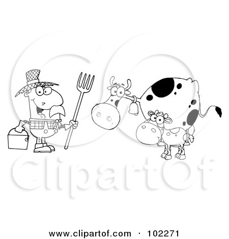 Royalty-Free (RF) Clipart Illustration of an Outlined Farmer Tending To His Cattle by Hit Toon