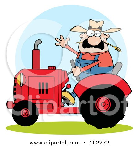Royalty-Free (RF) Clipart Illustration of a Caucasian Farmer Waving And Driving A Red Tractor by Hit Toon