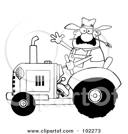 Royalty-Free (RF) Clipart Illustration of an Outlined Farmer Waving And Driving A Tractor by Hit Toon