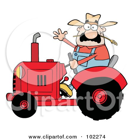 Royalty-Free (RF) Clipart Illustration of a Friendly Farmer Waving And Driving A Red Tractor by Hit Toon