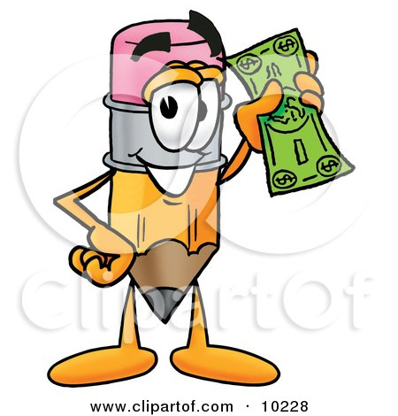 Clipart Picture of a Pencil Mascot Cartoon Character Holding a Dollar Bill by Toons4Biz