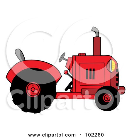 Red Farm Tractor Posters, Art Prints
