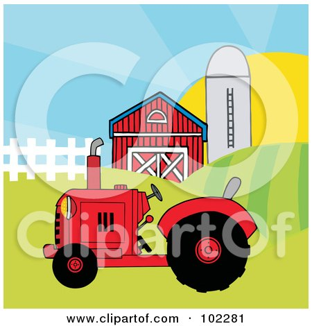 Royalty-Free (RF) Clipart Illustration of a Red Farm Tractor In A Pasture Near A Barn And Silo by Hit Toon