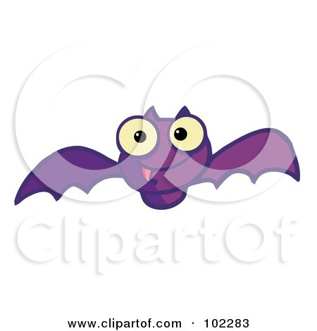 Royalty-Free (RF) Clipart Illustration of a Flying Purple Vampire Bat by Hit Toon