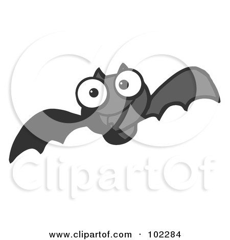Royalty-Free (RF) Clipart Illustration of a Flying Black Vampire Bat by Hit Toon