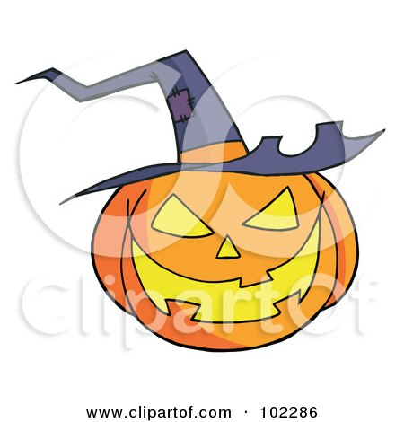 Royalty-Free (RF) Clipart Illustration of a Jack O Lantern Wearing A Witch Hat by Hit Toon
